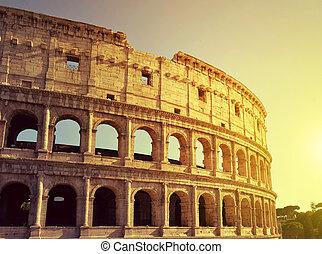 Colosseum in Rome - Flavian Amphitheatre or Colosseum in...
