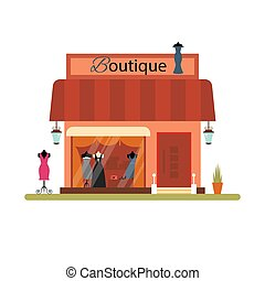 Clothing shop in flat style - vector illustration. Market icon isolated on white background. Cloth boutique.