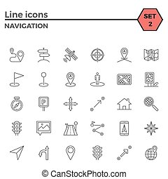 Navigation icon set - Navigation thin line related icons set...