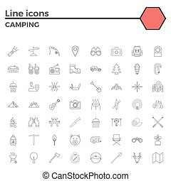 Outline stroke Camping icons - Camping thin line related...