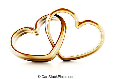 Gold heart shaped rings attached to each other. 3D...