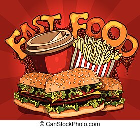 fast food banner with cola, hamburger and fries