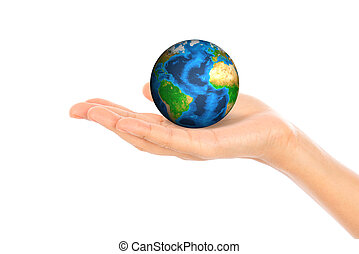 Hands with earth (Elements of this image furnished by NASA) .
