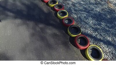 Kart. Overhead shot - Kart, karting to cars, the wheels on...