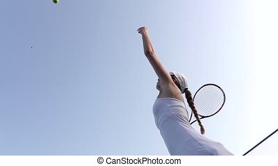 Tennis serve Slow motion - Tennis concept, girl tennis...