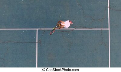 Tennis serve from overhead angle. Slow motion - Tennis serve...