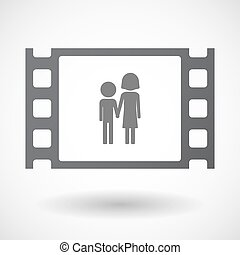 Isolated 35mm film frame with a childhood pictogram -...
