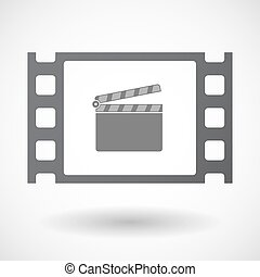 Isolated 35mm film frame with a clapperboard - Illustration...