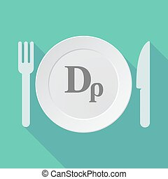Long shadow tableware vector illustration with a drachma...