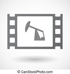 Isolated 35mm film frame with a horsehead pump -...