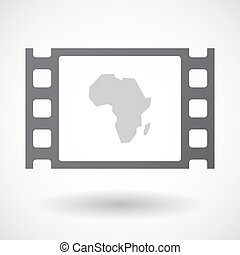 Isolated 35mm film frame with  a map of the african continent