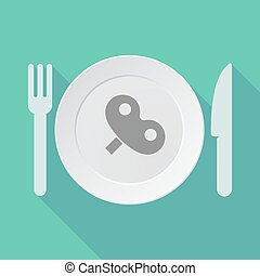 Long shadow tableware vector illustration with a toy crank -...