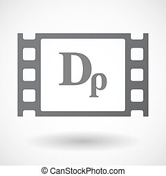 Isolated 35mm film frame with a drachma currency sign -...