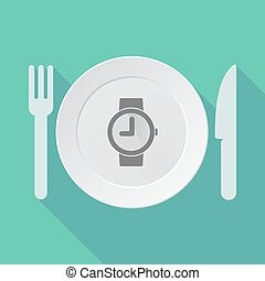 Long shadow tableware vector illustration with a wrist watch...