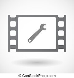 Isolated 35mm film frame with a spanner - Illustration of an...
