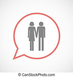 Isolated comic balloon line art icon with a heterosexual...