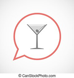 Isolated comic balloon line art icon with a cocktail glass