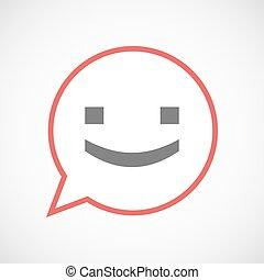 Isolated comic balloon line art icon with a smile text face...