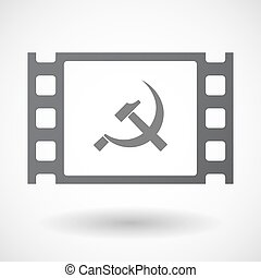 Isolated 35mm film frame with the communist symbol -...