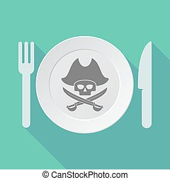 Long shadow tableware vector illustration with a pirate skull