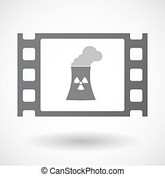 Isolated 35mm film frame with a nuclear power station -...