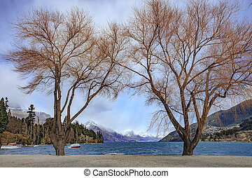 scenic of lake wakatipu important traveling destination in...