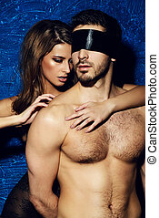 sexual games - Sexual passionate couple play in love games....
