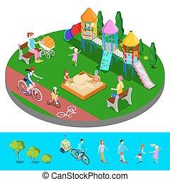 Isométrico, gente, parque, Ilustración, diapositiva,  vector, patio de recreo,  Sandbox, niños