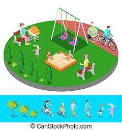 Isométrico, gente, parque, Ilustración,  vector, patio de recreo,  Sandbox,  sweengs, niños