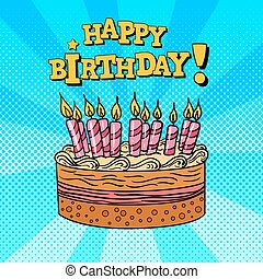 Happy Birthday Greeting Card with Cake and Candles Pop Art...
