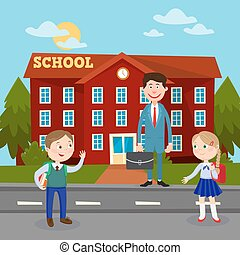 Back to School Education Concept with School Building Teacher and Pupils. Vector illustration