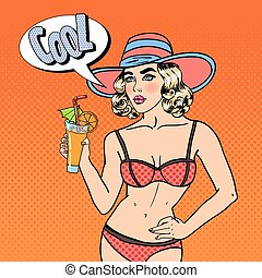 Beautiful Young Woman in Swimsuit with Cocktail. Pop Art. Vector illustration