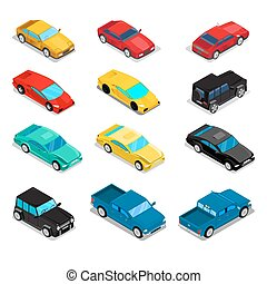 Isometric Transportation Car Set - Pick-Up, Offroad Car,...