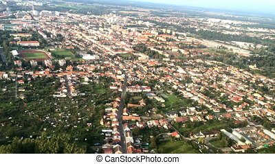 Plane view from the window on suburbs of Prague. Czech...