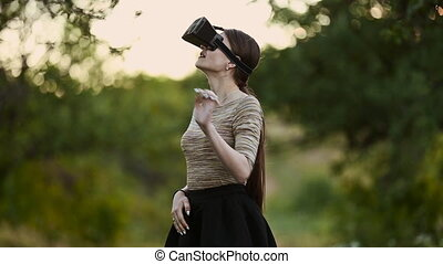 woman with glasses of virtual reality