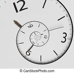 Twisted clock face. Time concept - Twisted clock face close...