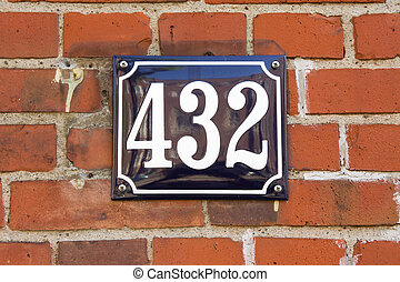 Number 432 - Enameled house number four hundred and thirty...