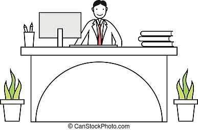 Cartoon employee working on a desk - Cartoon employee...