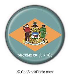 Delaware (USA State) button flag round shape - 3d made