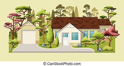 Illustration of a classic family house with trees