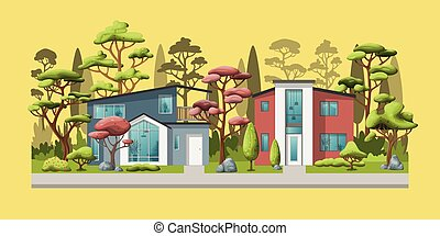 Illustration of two modern family house with trees