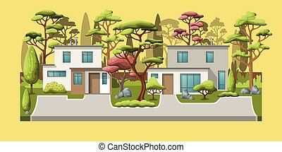 Illustration of two modern family houses with trees