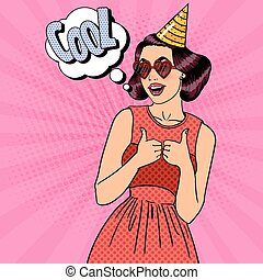 Smiling Woman Having a Party in Celebration Hat. Pop Art Vector illustration