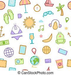 Summer Time Seamless Background with Sea Vacation Accessories. Vector illustration