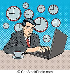 Depressed Businessman Stayed Late at Work. Tired Worker with Laptop. Pop Art Vector illustration