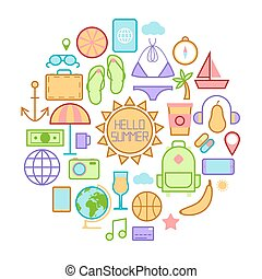 Summer Time Icons with Sea Vacation Accessories. Vector illustration