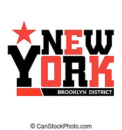 T shirt typography graphic New York Brooklyn - T shirt...