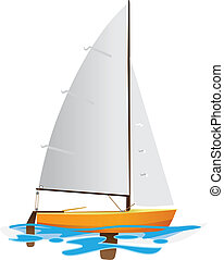 Sailing boat floating on water surface. Vector color...