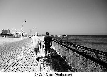 adult son and father walking together near the sea