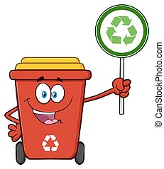 Recycle Bin Holding A Recycle Sign - Cute Red Recycle Bin...